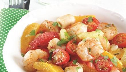 Pétoncles et crevettes aux suprêmes d'agrumes