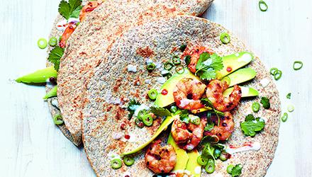 Tacos aux crevettes avec noix de coco et lime