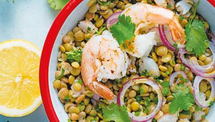 Salade de crevettes aux lentilles